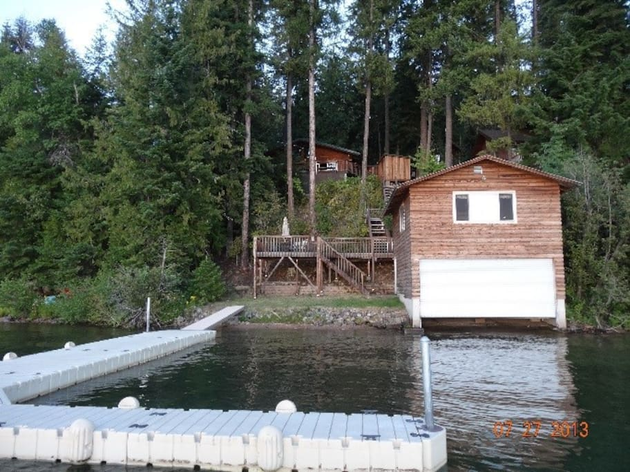 Upper level is game Room and has a full size  Bed lower is a boat house with canoe and Kayak