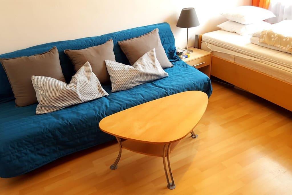 Couch, die auch zur Schlafcouch umgeklappt werden kann