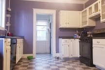 Fully stocked kitchen open to your use. Coffee maker, dishwasher, toaster, microwave, gas stove, plates, drink ware, silverware, ect...