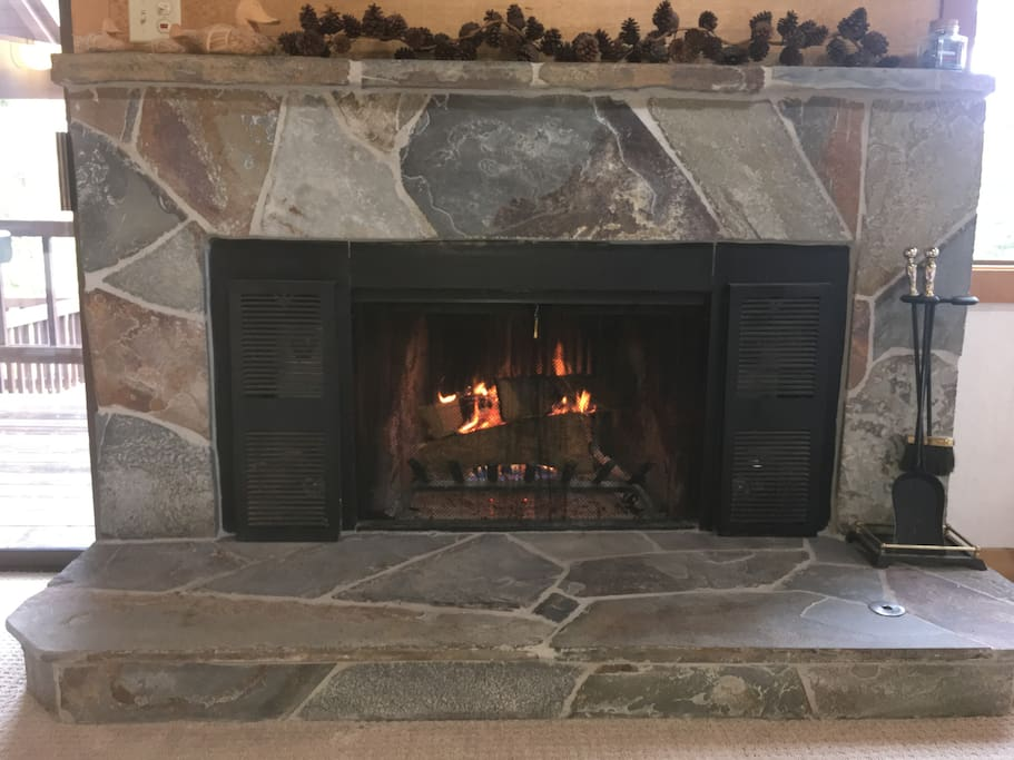 Wood burning fireplace with gas starter. Lots of wood, too.