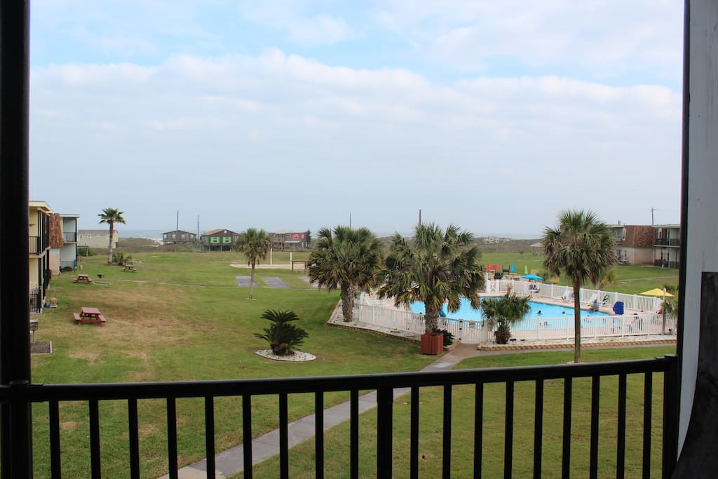 Patio view of pool and the beach / Gulf of Mexico.