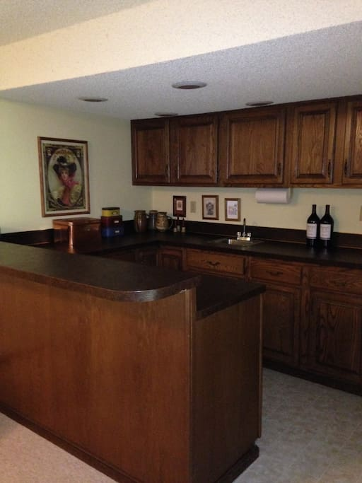 bar area -includes refrigerator, coffee maker, etc.