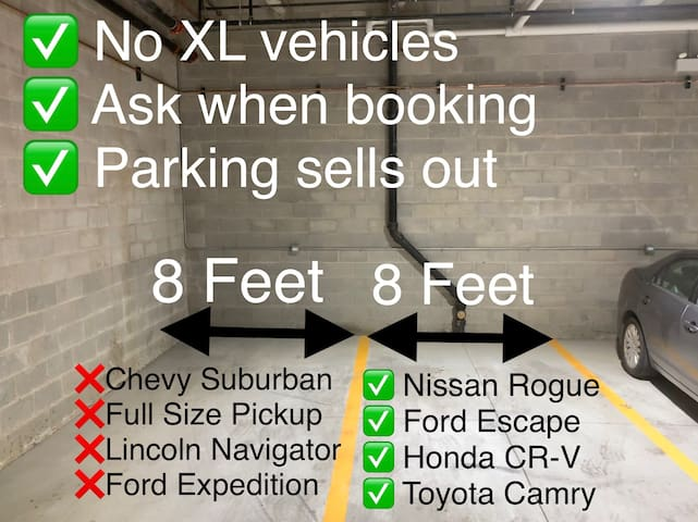 Free parking in our heated garage onsite.  You must ask when booking.  Parking does sell out and XL vehicles will be towed at owner's expense.