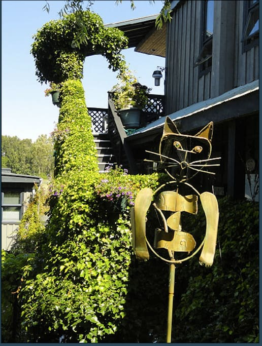 Climb the ivy covered staircase to reach Willow Cottage.
