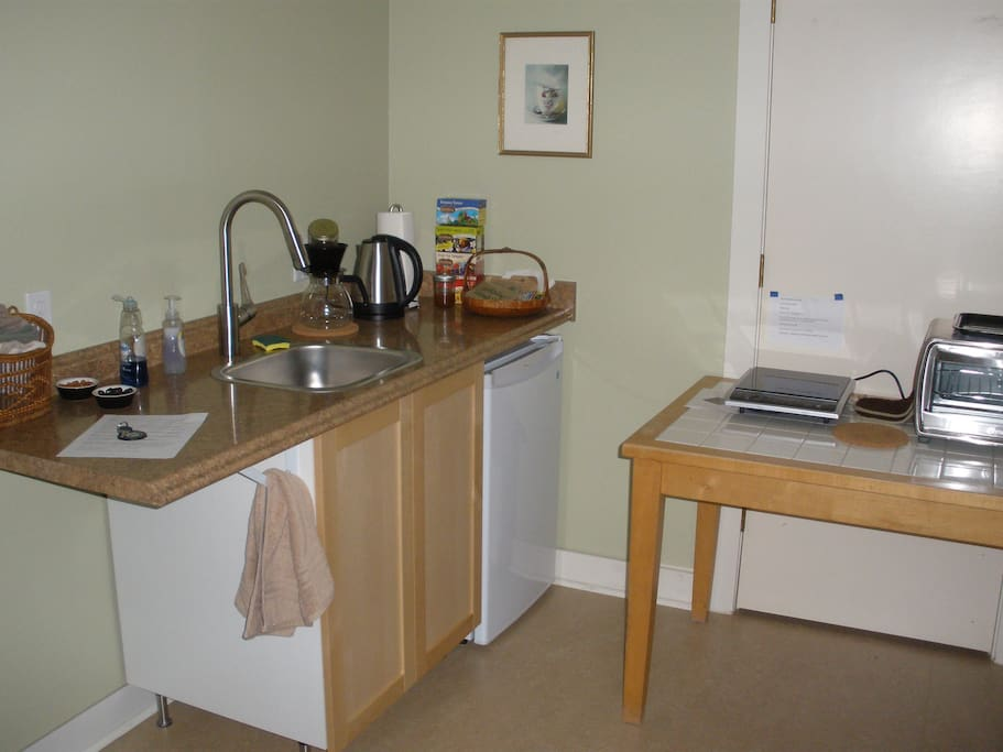 In the kitchenette with induction surface, table top oven