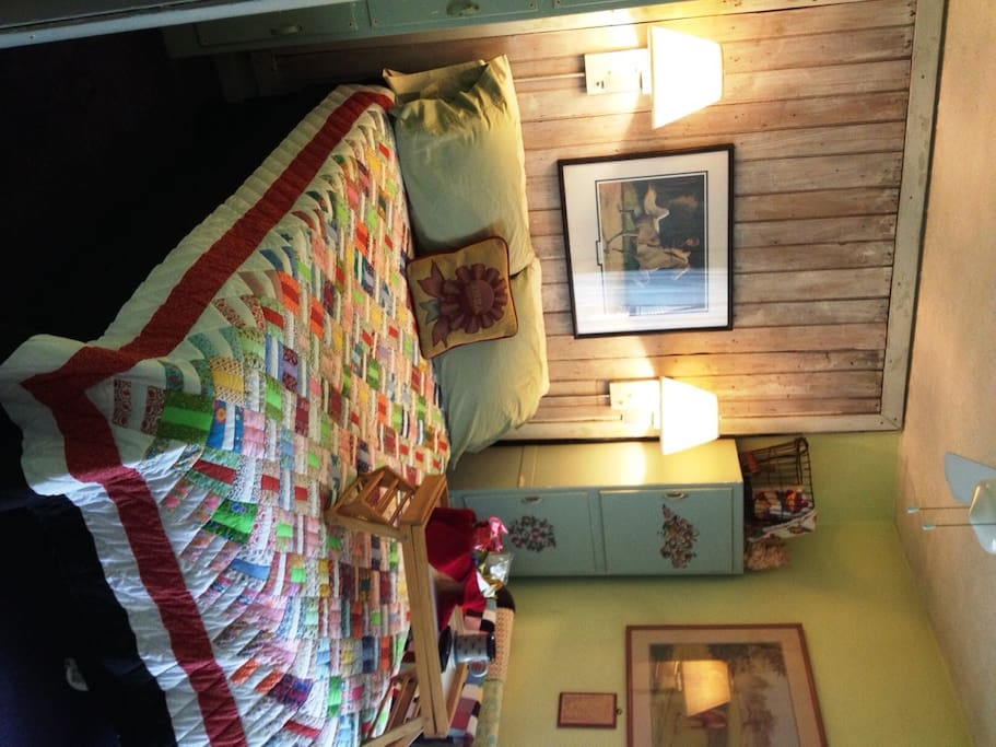 handmade quilt on the bed