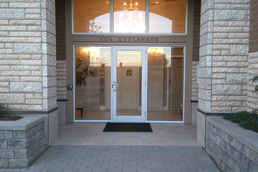 Main Entrance to the building and access to Parkade