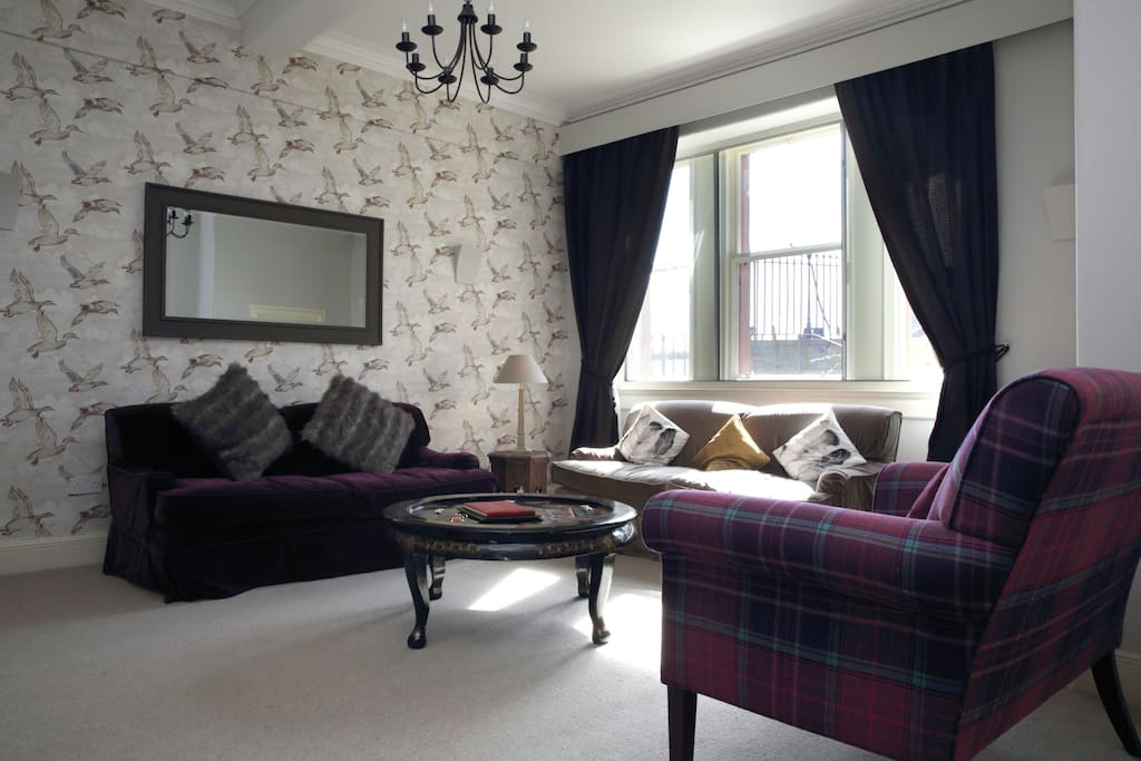 Living room with stunning views of the castle