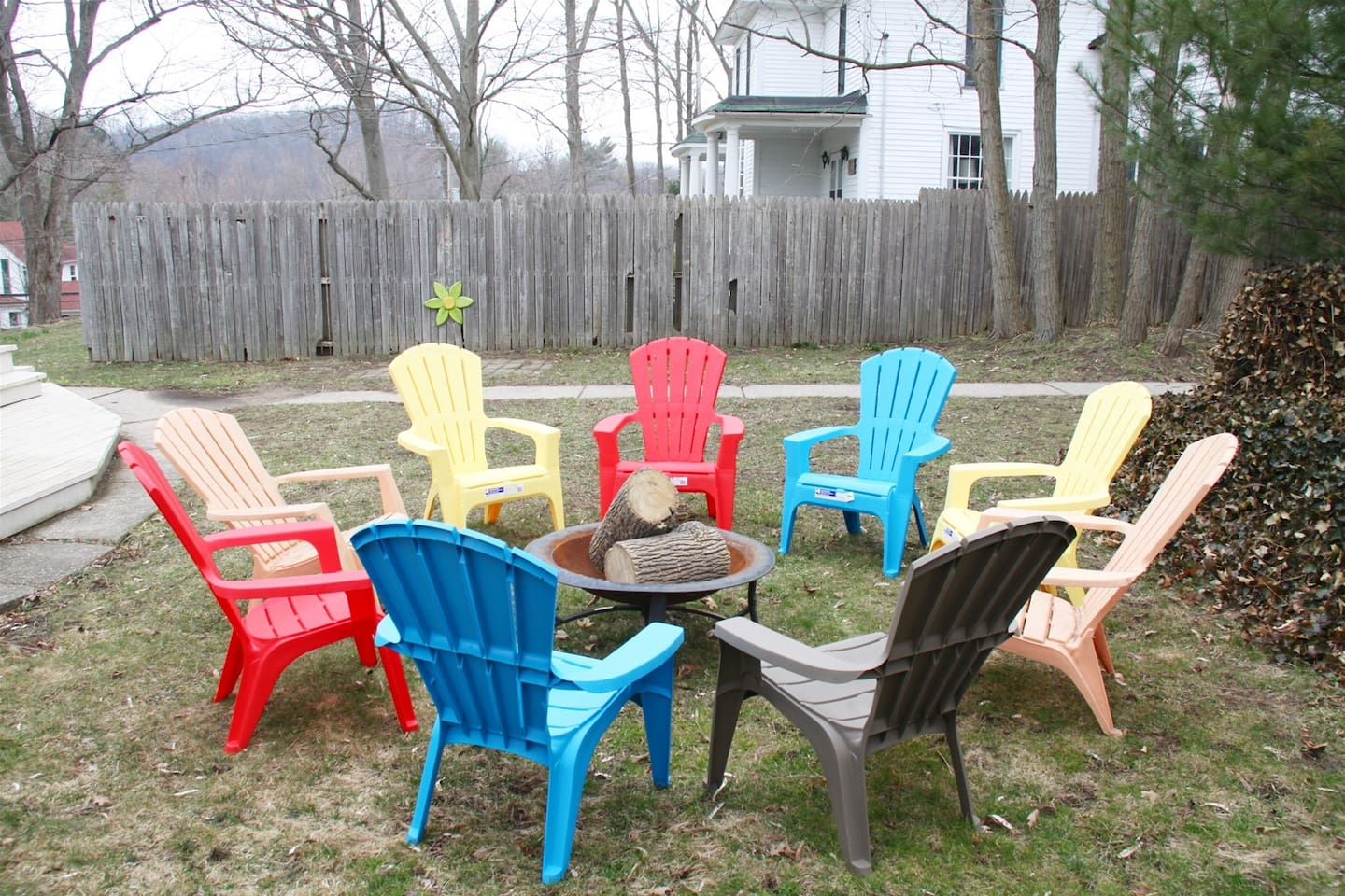 Fire pit with fun chairs to hang out and make s`mores