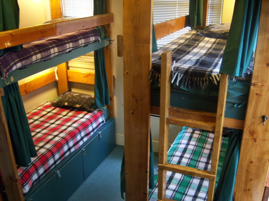 All our bunk beds come with curtains, a fan, a reading light, and power to charge your things.