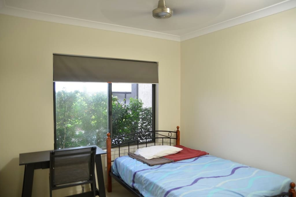 Room will be furnished with two single beds, not queen size bed as shown.