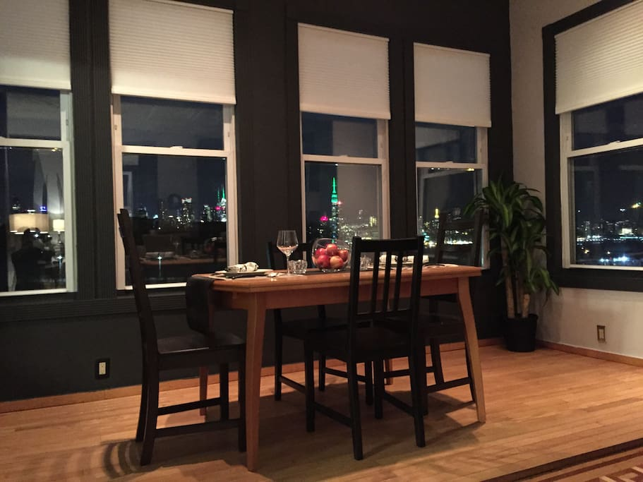 dining area with the NYC skyline view