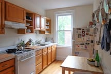 This kitchen isn't huge, but it's very well-equipped and seats two.