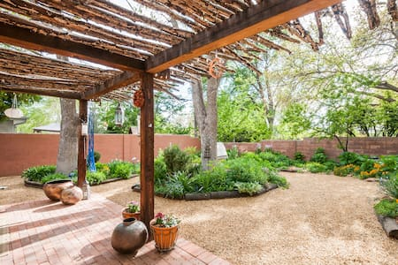 Lovely adobe house and garden.