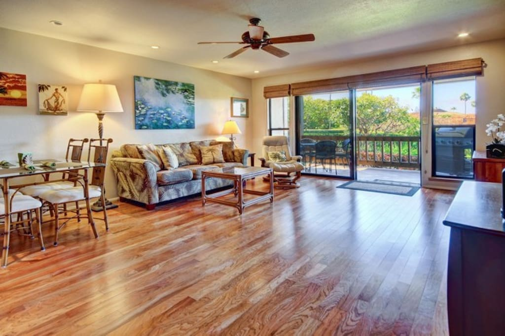 Spacious living space and beautiful hardwood floors throughout.