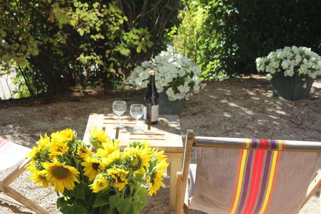 Enjoy a glass of rosé in the shaded garden