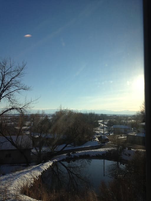 View of Wind River Mountains from window.