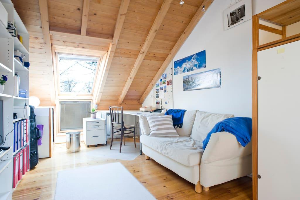 Zimmer mit Einzelbett und Sofa und TV