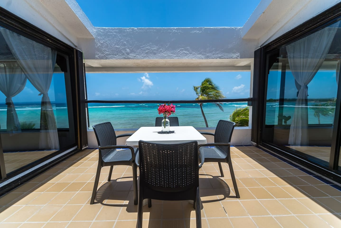 Yool Caanal #5 patio and Caribbean views