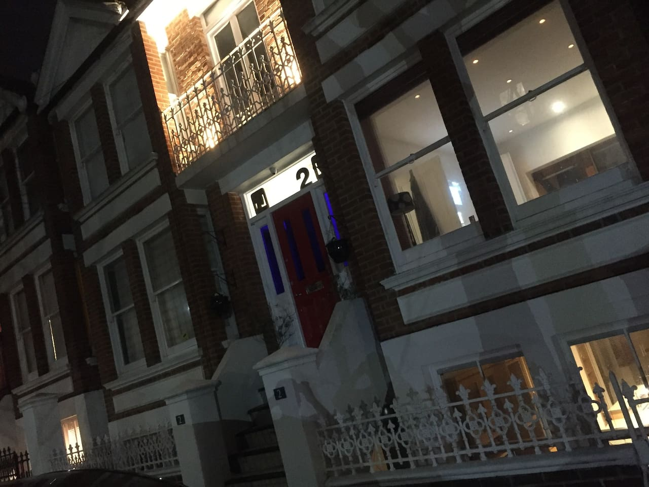 Front view of the house at night
