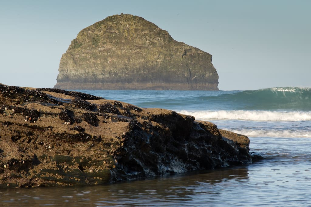 Gull Rock at Trebarwith Strand when the sea is coming in.