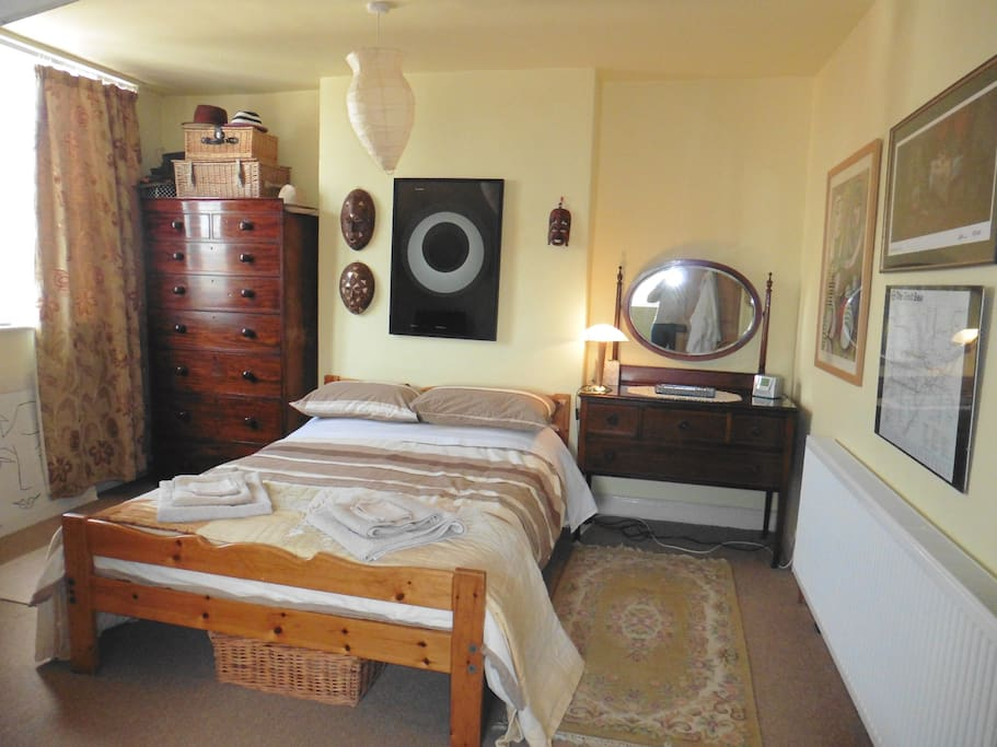 Bedroom 1 is large and comfortable with double bed, TV and DVD player, hairdryer and space for hanging clothes.