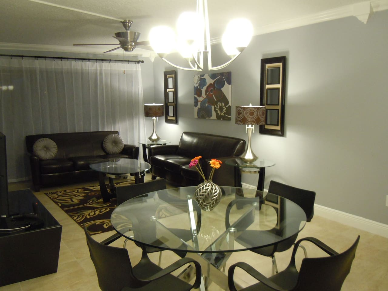 Living-Dining room, view from kitchen