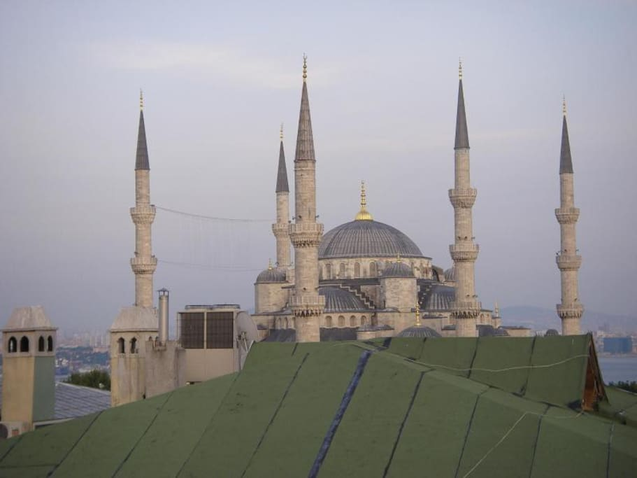 A view from roof terrace to Blue Mosque