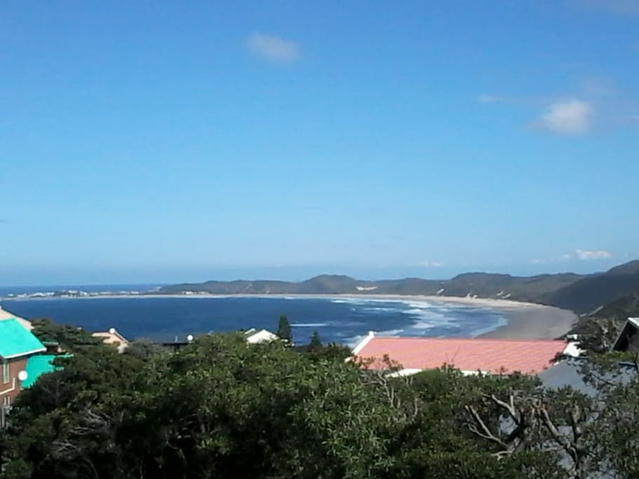 View from western deck:  Splendid Brenton-on-Sea main beach, with Buffalo Bay in the distance!