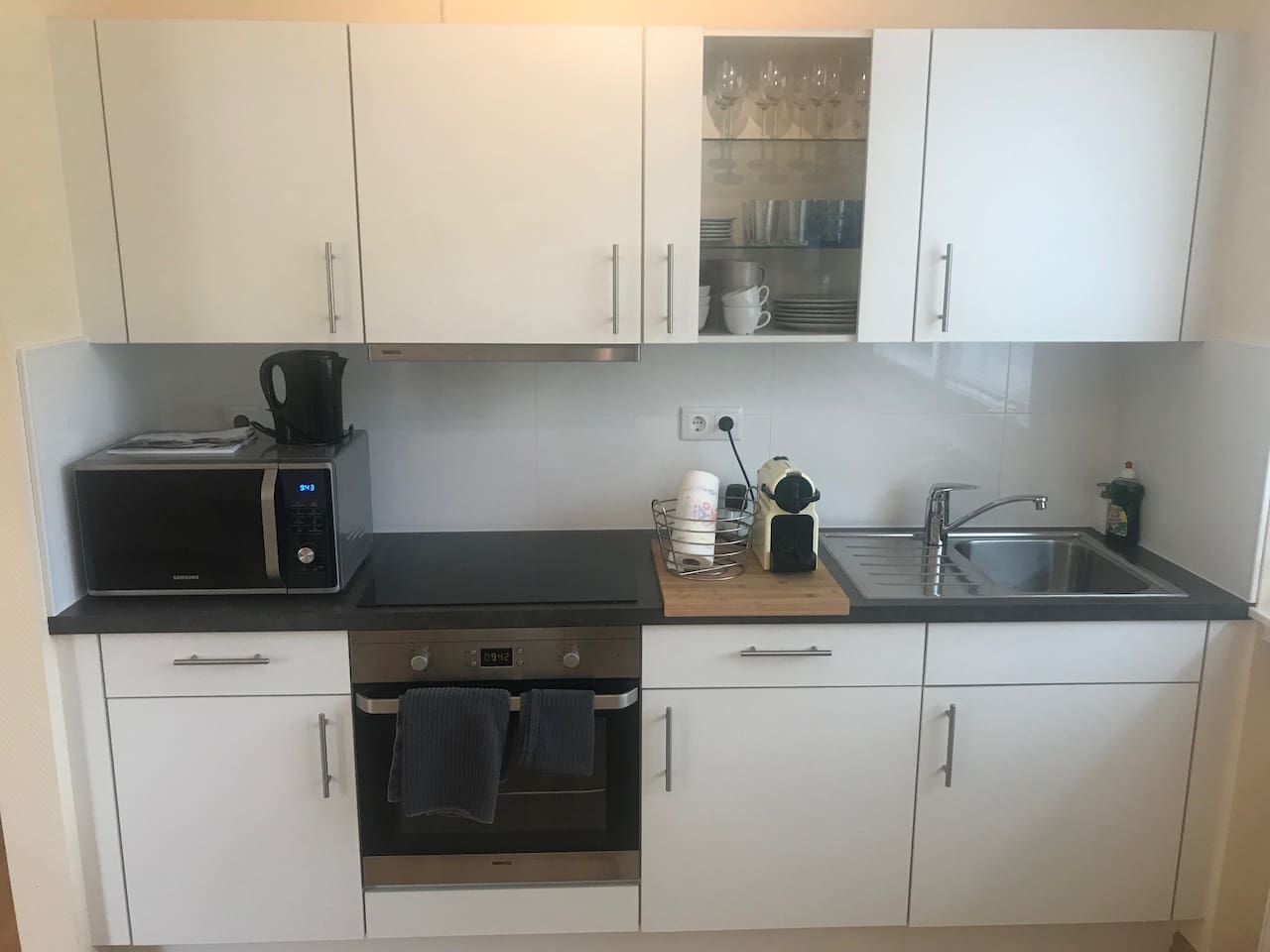 kitchen with new microwave