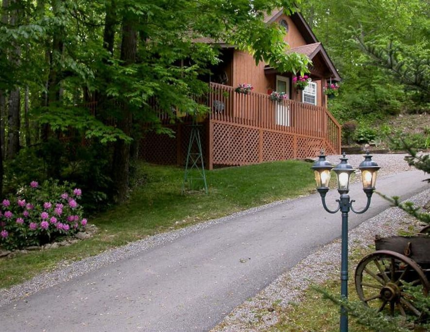 Private paved road to the cabin