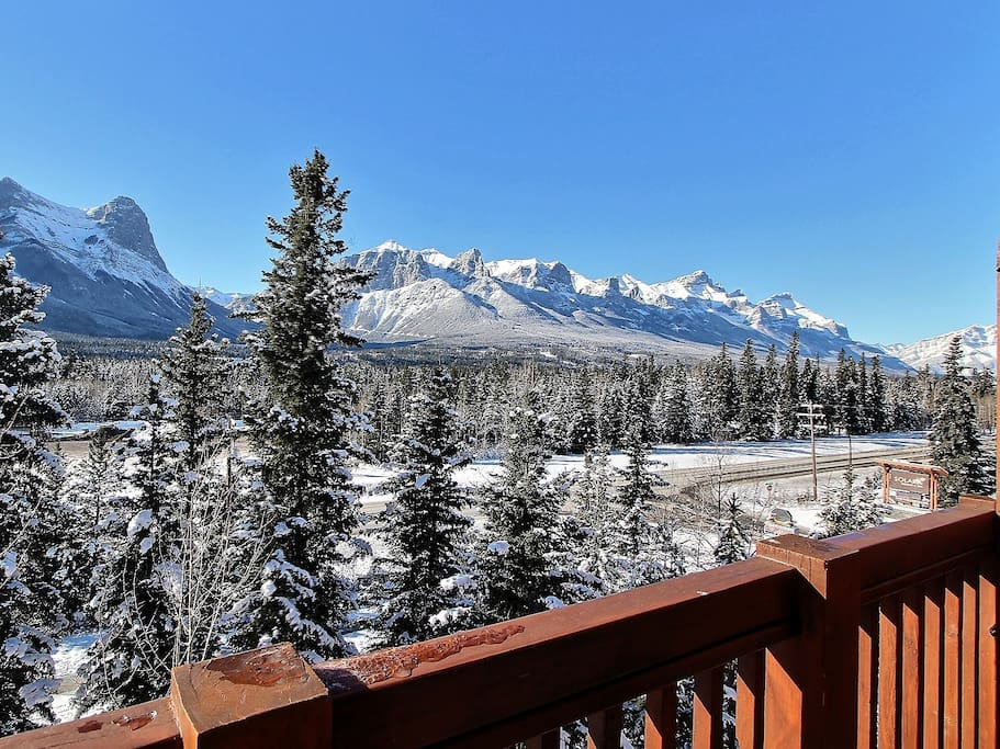 Balcony Views of Ha Ling Peak & Mt.Rundle