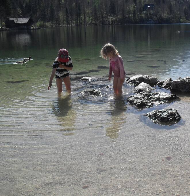 Playing in the nearby Bohinj Lake