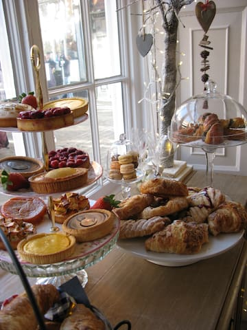 Downstairs in the Patisserie we serve delicious pastries, cakes and savouries