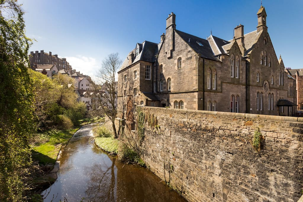 Rear view of the apartment over looking the Water of Leith