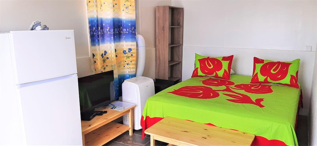 Studio entierement équipé pour votre confort: lit queen size,climatisation portable,télévision avec chaines gratuites, refrigérateur,etc...