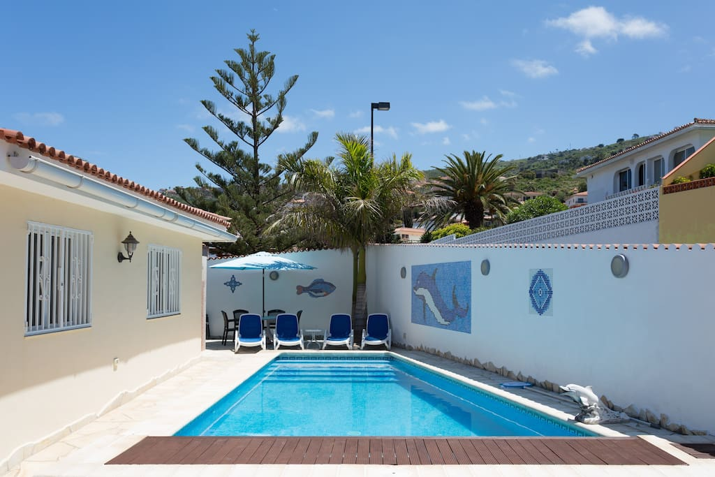 The pool is heated to a minimum of 26C it has a 'jetstream system' to swim against and the pool is 9m x 5m (max dimensions)