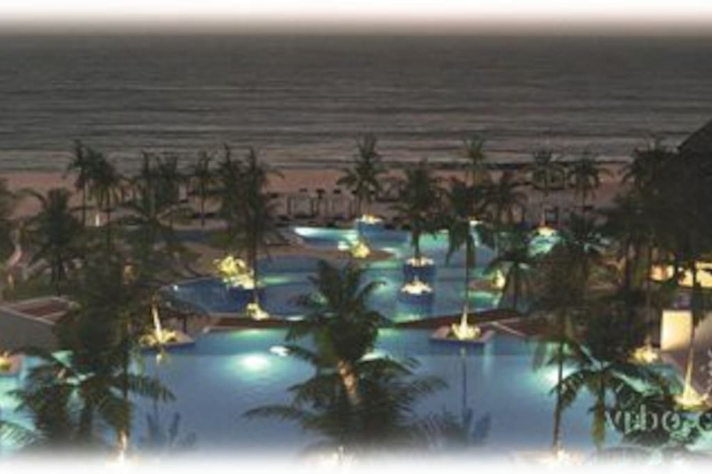night view of the beach club