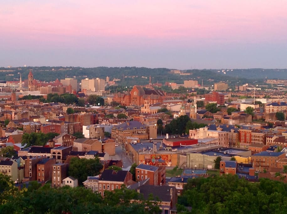 Living room view of Historic Over-The-Rhine including City Hall, Music Hall, Washington Park and Brewery District