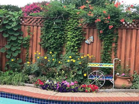 4 bedroom home with pool and backyard oasis.