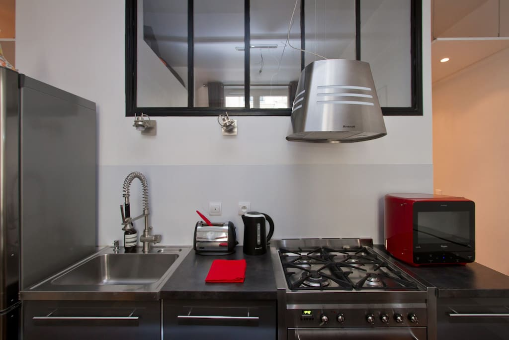 Fully equiped kitchen (dishwasher, microwave, hoven) and gas to cook the best French cuisine!