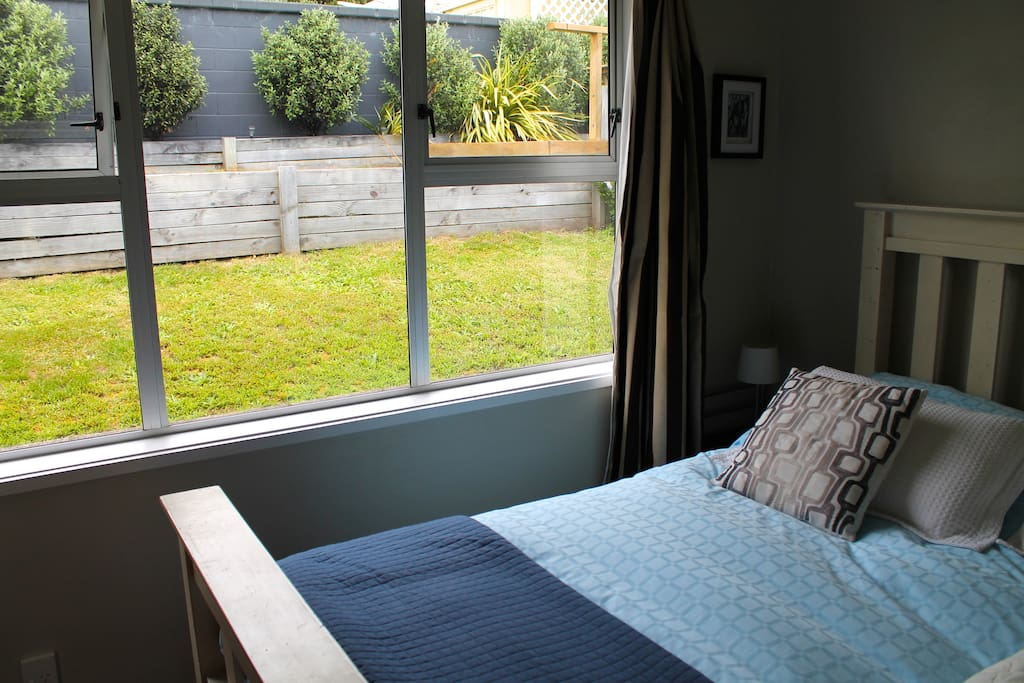 Separate bedroom with queen sized bed - blissfully quiet