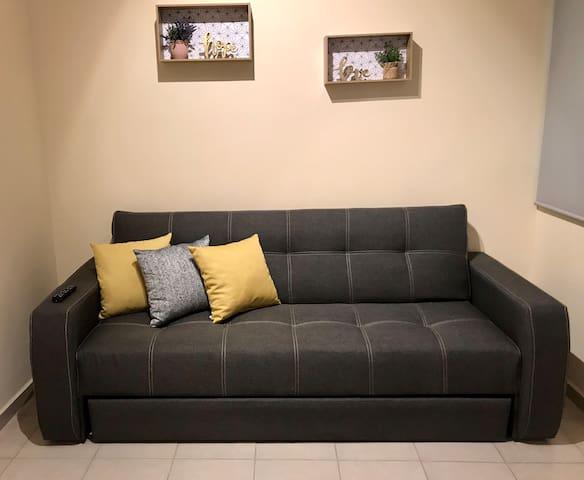 Cómodo sofá cama matrimonial y detalles de decoración hermosos que hacen del alojamiento un lugar moderno, lindo y acogedor