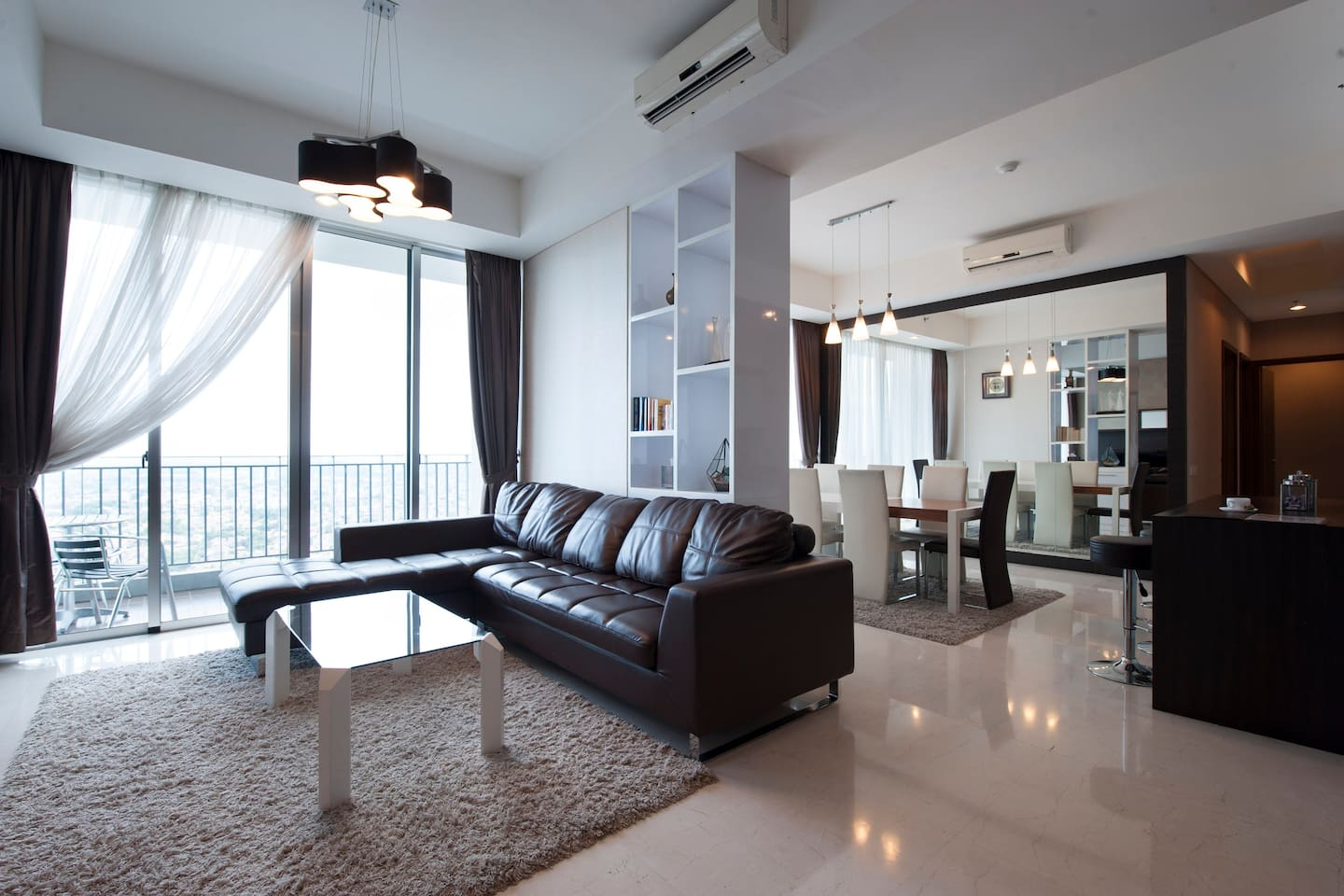 Spacious Living Room and Dining Room with views of South Jakarta