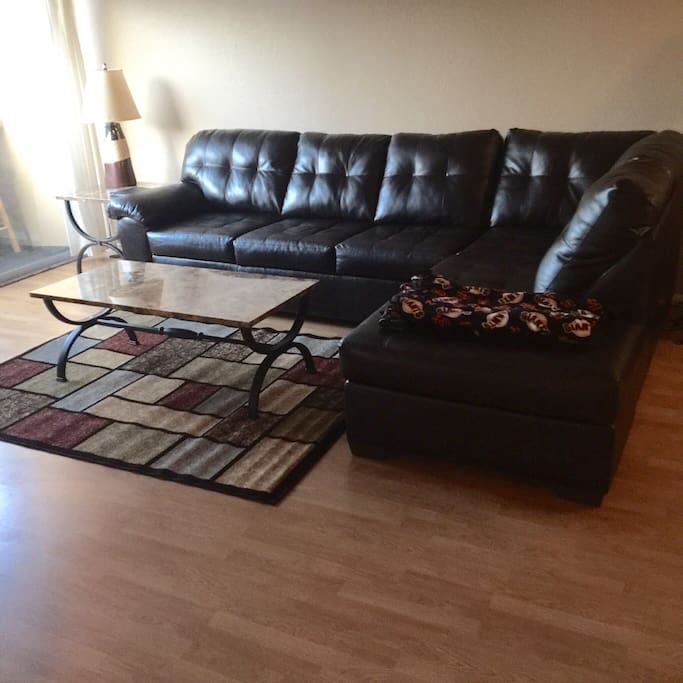 New sectional and living room furniture, perfect for reminiscing about the Giants earlier win!