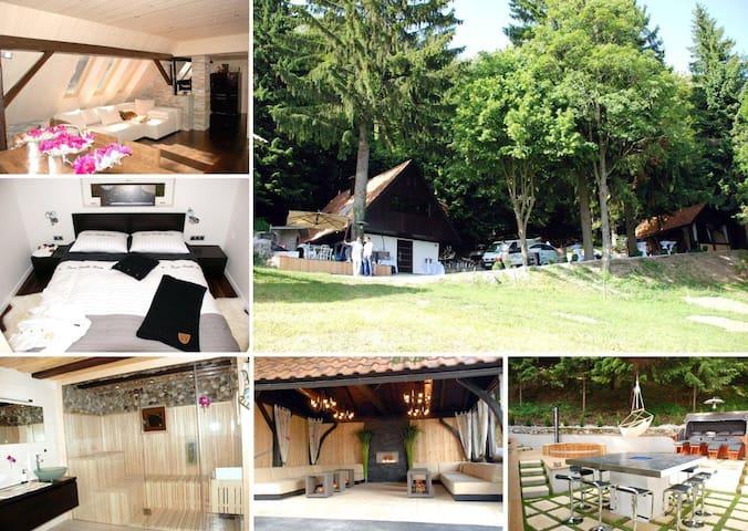 Luxury cottage jacuzzi sauna firepl - Ravne pri Šmartnem - Chalé