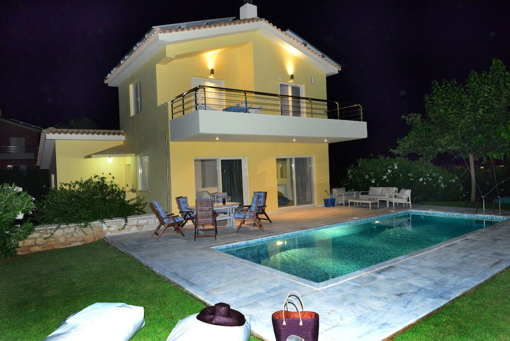 Front view & Swimming pool night view