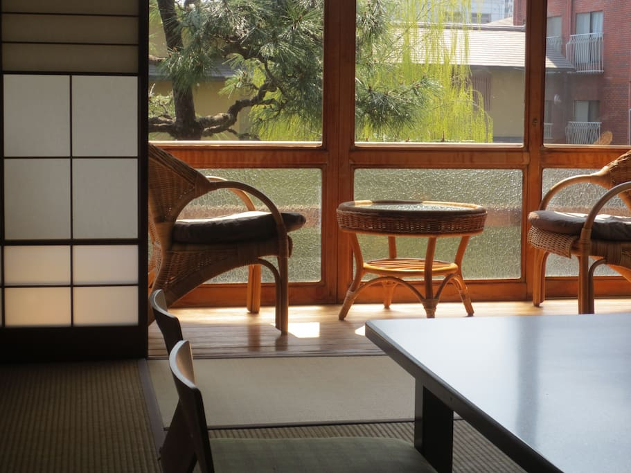 Authentic Japanese tatami room with a river view