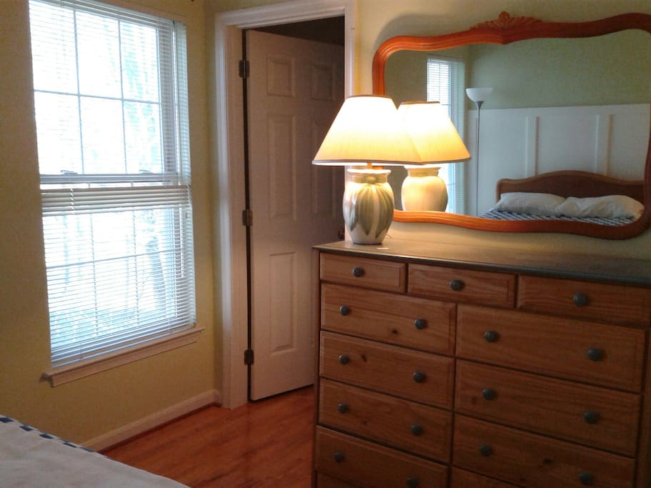 Large dresser and a walk-in closet.