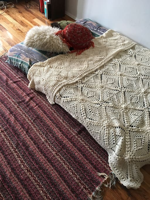 Boho inspired bed setup.
